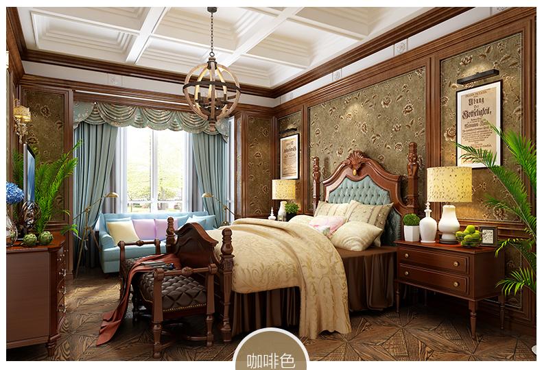 美式田园花卉壁纸 客厅卧室满铺墙纸图片